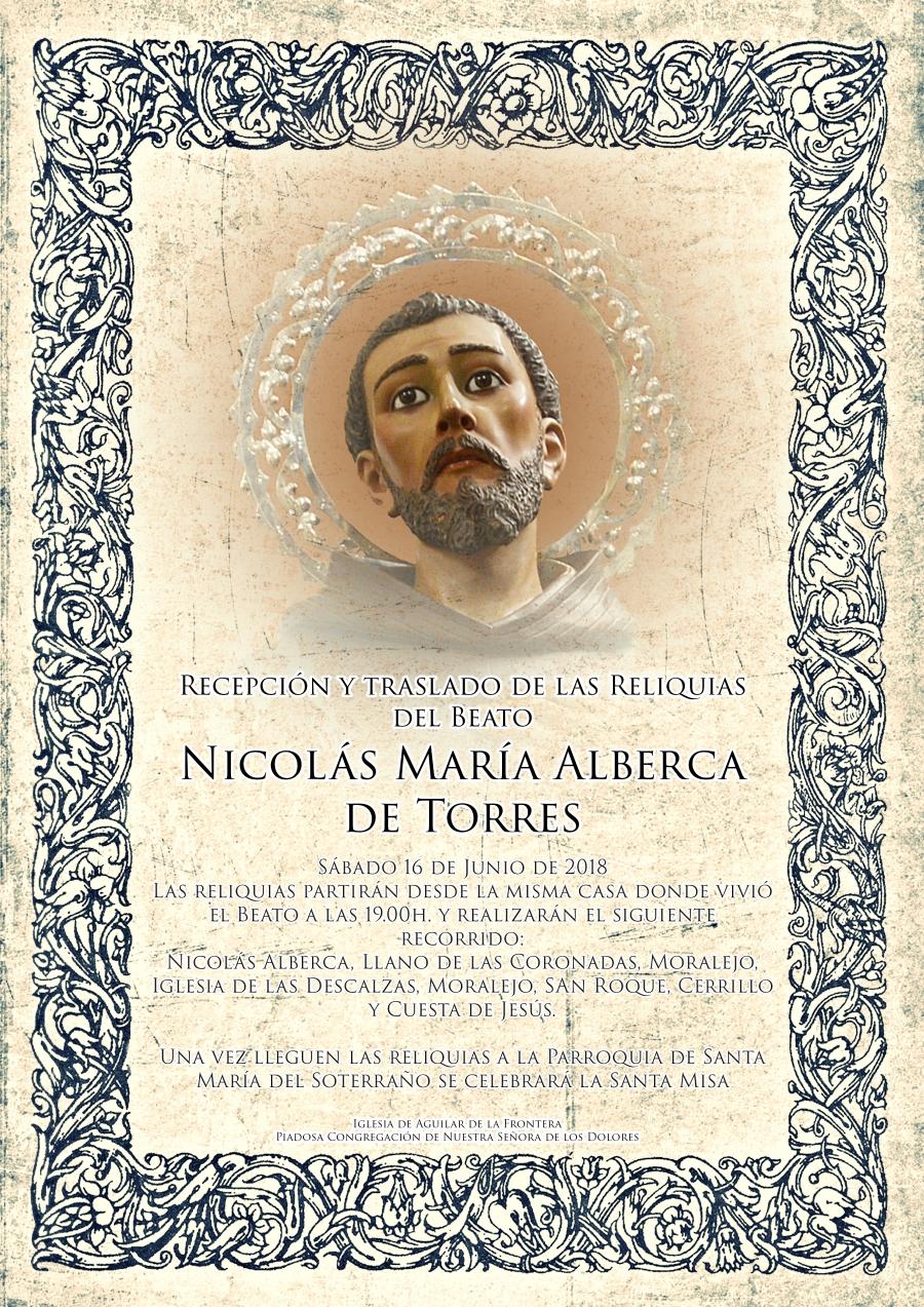 Las reliquias del Beato Nicolás Alberca llegarán a Aguilar