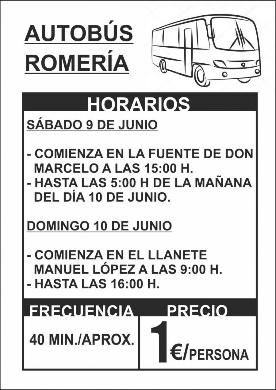 Habrá autobuses para Romería y costará 1 euro por persona