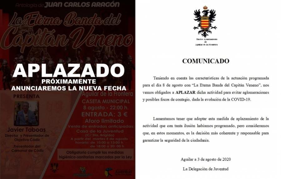 """Aplazada la actuación de """"La Eterna Banda del Capitán Veneno"""""""
