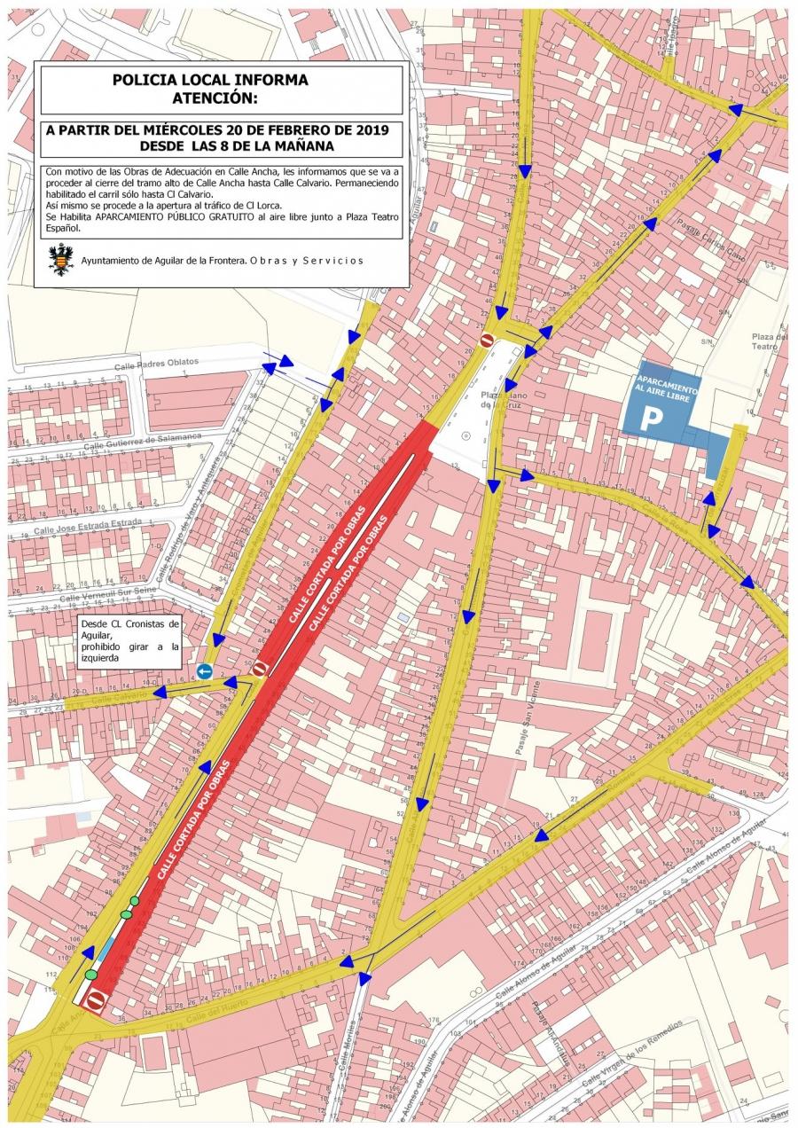 Este miércoles se cerrará por obras el tramo desde la calle Ancha hasta la calle Calvario