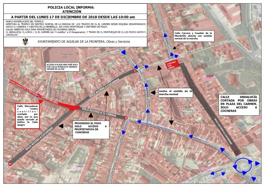 Nueva modificación del tráfico en Aguilar