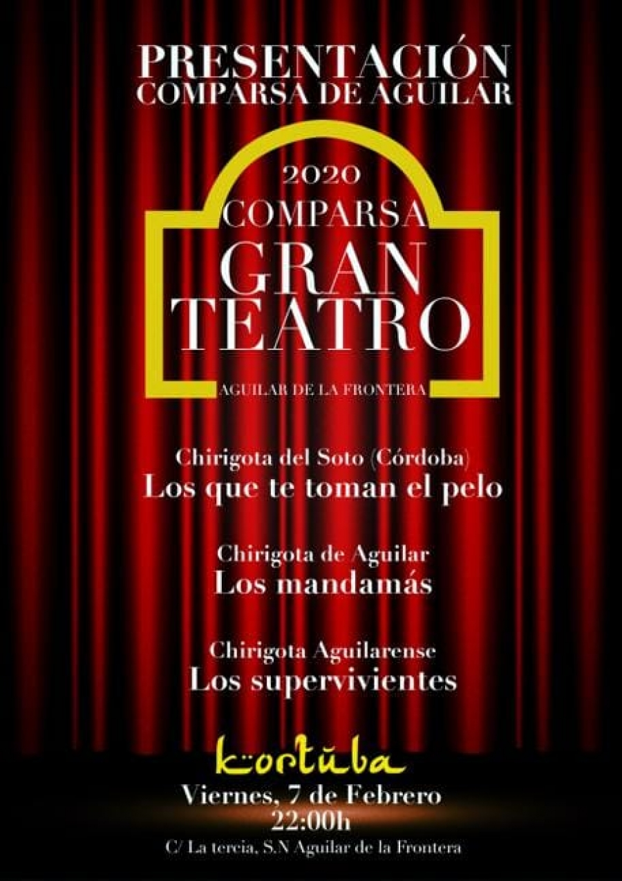 """El """"Gran Teatro"""" de la Comparsa de Aguilar subirá su telón el próximo 7 de febrero"""