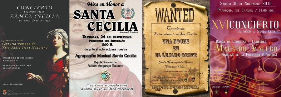 Conciertos para conmemorar la festividad de Santa Cecilia 2019